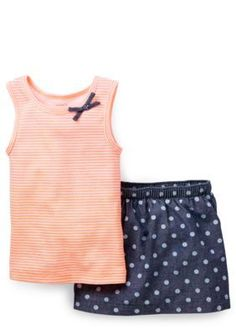Carters  2-Piece Stripe Tank and Chambray Skort Set Toddler Girls