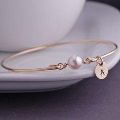 Gold Bangle Bracelet, White Pearl Bracelet, Simple Gold Bracelet, Pearl Jewelry, Stacking Bangles