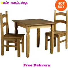 Table Chairs Solid Wood Pine Dining Set 3Pc Rustic Style Small Furniture Kitchen