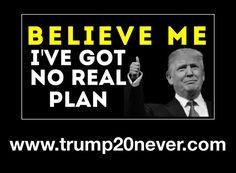 Believe me, I've got no real plan. Never Trump