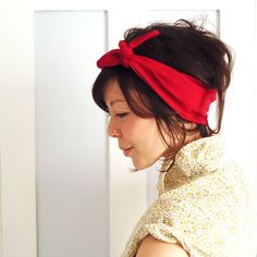 Tie Up Headscarf Red Lycra by ChiChiDee on Etsy, £10.00