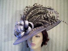 Kentucky Derby Hat Victorian Hat Grey Sinamay Hat Wedding Hat Feathers Titanic Style Hat Wide Brim Hat Ribbon