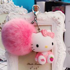 957e0d992d3 US $3.59 10% OFF|Cute Hello Kitty Cat pvc Key Chain Sleutelhanger Rabbit  Fur Pom Pom Keychain fluffy Pompon Key Ring Women Bag Car Charms pendant-in  Key ...