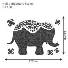 Nellie Elephant Stencil - Buy reusable wall stencils online at The Stencil Studio