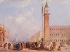"""The Piazzetta, Venice"".  Edward Pritchett. Mid-19th Century."