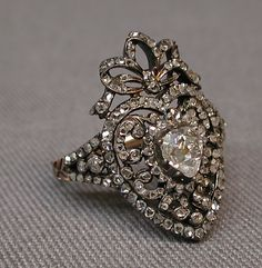 Ring… Gold, silver diamond ring, possibly by C. S., Paris France 19th century