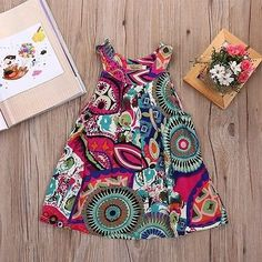 Material:Cotton Decoration:Pattern Silhouette:A-line Sleeve Length:Sleeveless Pattern Type:Print Sleeve Style:Regular Dresses Length:Knee-Length Gender:Girls