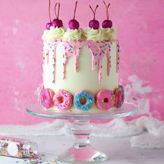 As per usual, I only found out about it today, so I made this impromptu donut cake! I used donut macs instead of… Birthday Drip Cake, Cute Birthday Cakes, Teen Birthday, Drip Cakes, Pretty Cakes, Beautiful Cakes, Donut Birthday Parties, Doughnut Cake, Specialty Cakes