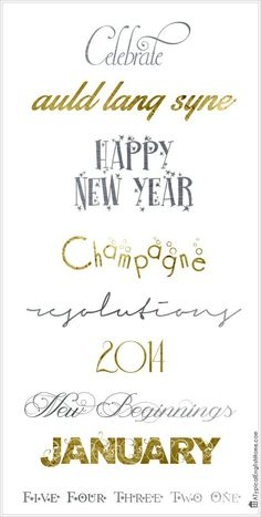 New Year and Celebration Fonts. You can use them in your digital scrapbooking, your blog graphics or even for creating those last minute party invitations!
