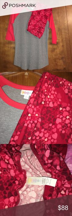 Lularoe Randy & Valentine's Day Tc leggings bundle TC leggings are brand new, and the Randy has been hand washed/dried once but never worn. I do have the tags and is an xl. Sold as a set! LuLaRoe Tops Tunics