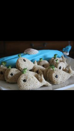 Little whales tea sandwiches for a nautical baby shower. LOVE! Use with Zoe's chicken salad and smoked salmon?