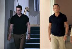 A comparison image between Sean Connery and Daniel Craig's classic casual polo look