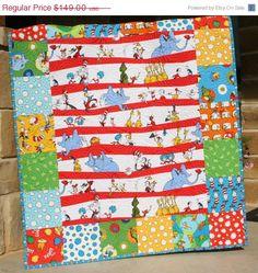 SALE Dr Seuss Quilt Lorax Bright Baby Boy or Girl Nursery Bedding Kids Child $156
