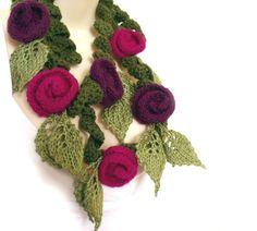 Crochet knit felt scarf lariat freeform knit by allmadewithlove, $59.00