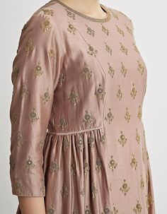 Buy Rose Pink Hand Embroidered Kurta Set by Dhruv Singh Available at Ogaan Online Shop Sleeves Designs For Dresses, Dress Neck Designs, Stylish Dress Designs, Blouse Designs, Simple Kurti Designs, Kurta Designs Women, Salwar Designs, Pakistani Fashion Casual, Pakistani Dresses Casual