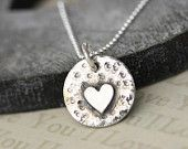 Silver heart necklace, Handmade silver necklace, Heart necklace, Heart pendant, Simple silver necklace, Simple jewelry, Small pendant