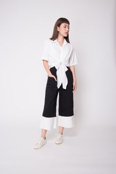 A chic and classy blouse with a tie-front twist. Works with just about any high-waisted bottom for a flattering, modern look! Ribbon Shirt, White Ribbon, Casual Dresses, Dressing, Classy, Chic, Shirts, Color, Women