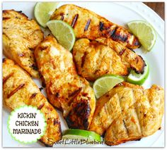 Kickin' Chicken Marinade! Only 4 ingredients {Frank's RedHot, olive oil, lime juice and garlic} So simple! So good! Also great with shrimp! | SweetLittleBluebird.com