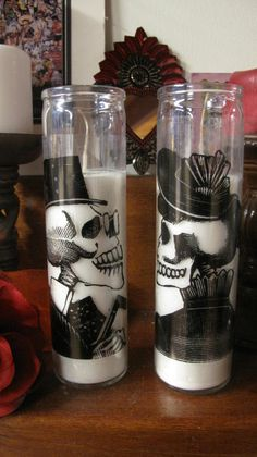 Mr. & Mrs. Skeleton Candles - and now with clear gloss decoupage medium...