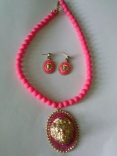 Neon Pink Beaded Necklace with Lion Head Pendant and Pink/gold Lion Head Matching Earrings Set
