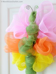 Deco Mesh Butterfly Door Decoration: DIY Tutorial