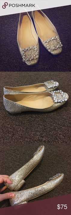 Kate Spade ♠️ Fancy Flats Gorgeous Kate Spade Gold Sparkly Flats with Diamond style rhinestones.  Teeny 1/2 inch back heel.  Lovely! kate spade Shoes Flats & Loafers