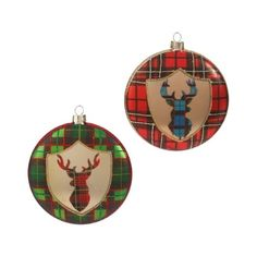 """RAZ+4""""+Plaid+Reindeer+Ornament+Set+of+2++Red,+Green,+Black,+and+Blue+Made+of+Glass+Measures+4""""+Set+includes+one+of+each+color:+Red+and+Green+Artist:+ELIZABETH+MEDLEY+RAZ+Exclusive+++RAZ+2017+"""