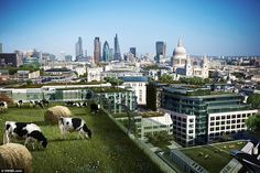 Here can be seen the prediction for a future London where animals graze on the top of skys...