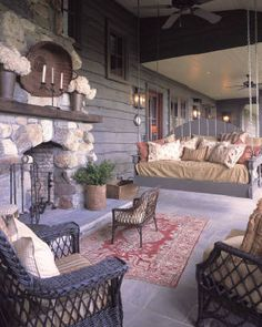 Porch with fireplace.