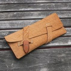 GARNY - MAKEUP POUCH - WHISKEY COLOR BUFFALO HIDE Sophisticated - Minimalist - Functional Design. This single pocket pouch will hold your by TomiSchlusz
