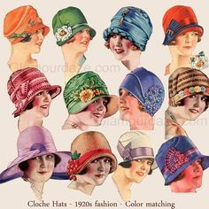Womens Fashion Fabric Cloche Hat in Vintage Art Deco Style . Vintage Outfits, 1920s Outfits, Vintage Clothing, 1920s Clothing, Clothing Styles, Dress Vintage, Vintage Shoes, 1920s Fashion Women, Vintage Fashion
