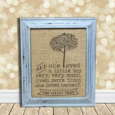 My favorite book...need this in the boys' bathroom.   The Giving Tree Burlap Art Print  Baby Boy's by BellaGreyVintage, $18.00