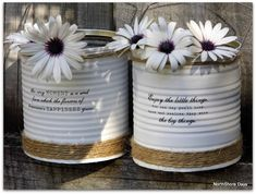 up cycled painted tin cans, crafts, repurposing upcycling Painted Tin Cans, Painted Mason Jars, Paint Cans, Recycle Cans, Diy Recycle, Decoupage Tins, Diy Craft Projects, Diy Crafts, Twine Crafts
