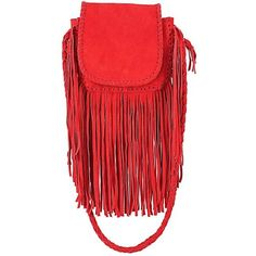 Jennifer Haley Micro Mini Bohemian ($380) ❤ liked on Polyvore featuring bags, handbags, shoulder bags, red suede, leather crossbody purse, leather crossbody handbags, leather fringe handbag, fringe crossbody purse and fringe crossbody