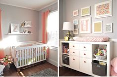 Color crush - gray & coral for a little girl nursery.