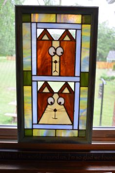 2 Goofy Cats, Kitten, Tabby Stained Glass Panel, Quilt, Fun Funky Green, Brown CUTE