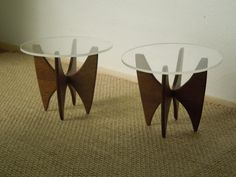 The modern glass side table.
