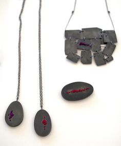 New work from Lauren Markley, oxidized sterling silver necklaces and brooch, with stitched silk elements. Gallery Lulo.