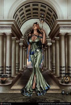 Hera - was the Olympian queen of the gods and the goddess of women and marriage. She was also a goddess of the sky and starry heavens. She was usually depicted as a beautiful woman wearing a crown and holding a royal, lotus-tipped staff.