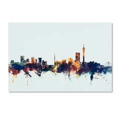 Trademark Fine Art Johannesburg Skyline Blue Canvas Art by Michael Tompsett, Size: 22 x Multicolor Johannesburg Skyline, Blue Canvas Art, Canvas Size, Canvas Fabric, Canvas Prints, Map Art, Art Reproductions, Online Art Gallery, 5 D
