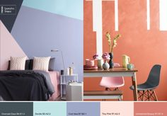 Plascon Colour Forecast 2015: pastels with a a deep gray. Love the interesting paint application on the coral and white wall.