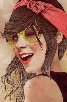 Artist: Elodie Nadreau {contemporary figurative art illustrator beautiful female head sunglasses winking woman face portrait cropped drawing detail #2good2btrue} elodie-illustrations.net