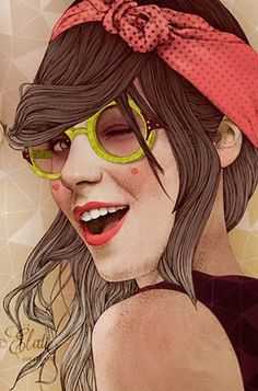 Artist: Elodie Nadreau {contemporary figurative illustrator beautiful female head sunglasses winking woman face portrait cropped drawing detail} elodie-illustrations.net