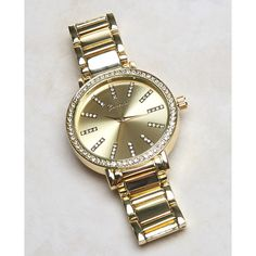 Global Time Int'l  Rhinestone Dial Boyfriend Watch ($23) ❤ liked on Polyvore featuring jewelry, watches, gold, wet seal, bezel jewelry, polish jewelry, sparkle jewelry, fake watches and dial watches