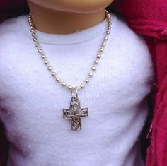 """$5.00 My doll and me- Antique silver filigree cross necklace for little girls and their American Girl and other 18"""" dolls by BFFandMEJewelry on Etsy"""