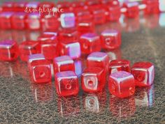6mm Red AB Cube Czech Glass Beads 25 by simplypie on Etsy