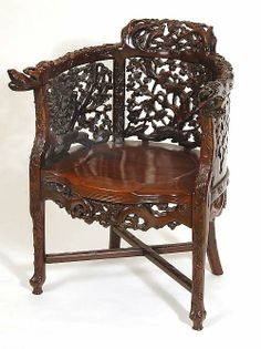 Chinese Carved Chair | Chinese rosewood chair elaborately carved with birds amongst ...