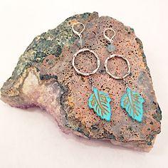 Silver Loop Turq Howlite Leaf Earrings