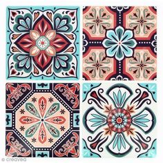 Mosaic Stickers - Square - Red and turquoise - 12 x 12 cm - 4 pcs - Tiles mosaic - Les jolies NOUVEAUTES Creavea Tile Patterns, Pattern Art, Textures Patterns, Print Patterns, Pattern Design, Tile Art, Mosaic Art, Mosaic Tiles, Motif Art Deco