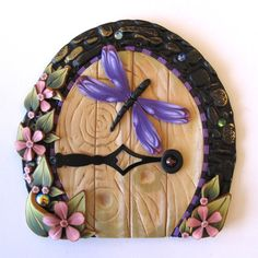Violet Dragonfly Fairy Door Pixie Portal by Claybykim on Etsy